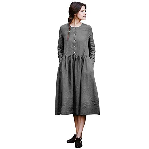 ZHRUI Womens Kaftan Button Long Sleeve lose Tasche Baggy Dress (Farbe : Grau, Größe : ()