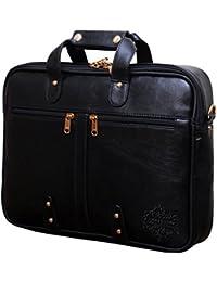 "Style Homez Premium Leatherette Executive Laptop Briefcase Bag 15.6"", Adjustable Strap and 7 Compartments, Metal Black Color"