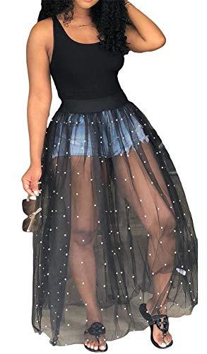 Symina Frauen ärmellose Tunika Bodys Lange Kleid Schiere Mesh durchschauen Maxi-Kleid mit Perle Perlen -
