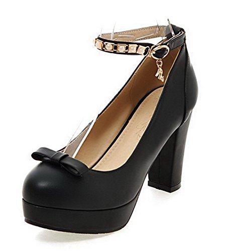 AgooLar Femme à Talon Haut Matière Souple Couleur Unie Boucle Rond Chaussures Légeres Noir