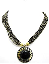 Muccasacra Hot Selling Black Beauty Beads Stone, Brass Necklace