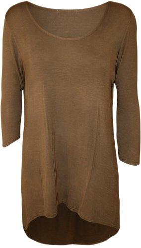 WearAll - Damen Übergröße Einfarbig Dip Saum Langarm T-Shirt Top - 6 Farben - Größe 42-56 Mokka