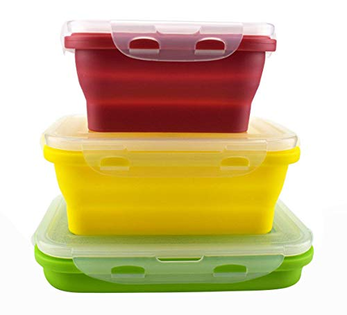 Bagonia Silicone Food Storage Containers with BPA Free Airtight Plastic Lids - Set of 3 Small and Large Collapsible Meal Prep Container for Kitchen or Kids Lunch Boxes - Microwave and Freezer Safe