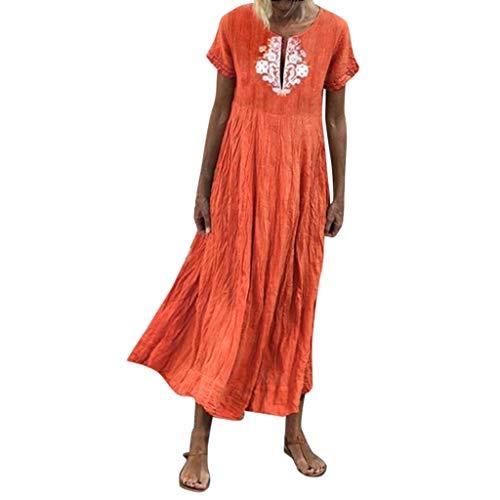 Moonuy Dame Sommerkleidung Frauen Plus größe Dress Fashion Vintage v-Ausschnitt spleißen Blumenspitze Kurzarm Patchwork Maxi Dress