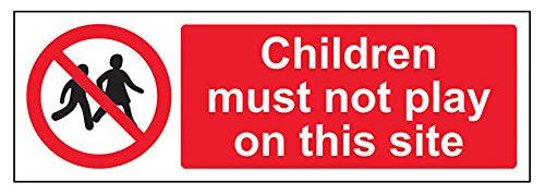 vsafety 52011ax-r Kinder müssen nicht Seite Spielen auf diesem Verbot Zugang Zeichen, starrer Kunststoff, Landschaft, 300mm x 100mm, schwarz/rot