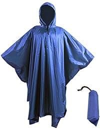 Ponchos Imperméables, 3 en 1 Poncho de pluie/Tapis de Tente/Couverture de Pique-Niques Pour Camping Randonnée Cyclisme Activité En Plein Air -Adulte unisexe
