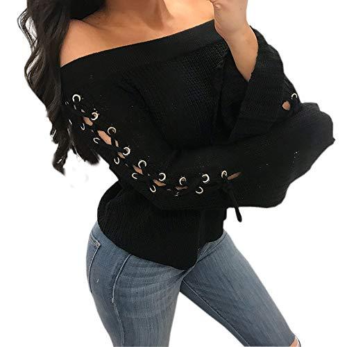 TianWlio Damen Langarmshirt Bluse Sweatshirt Kapuzenpullover Frauen Lange Aufflackernhülse Weg von der Schulter Bandage Pullover Lässiges Gestricktes Hemd