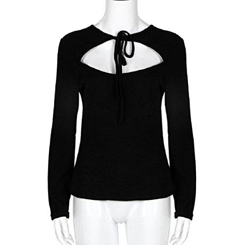 Vovotrade Frauen Langarm-V-Ansatz Verband dünne Bluse Tops T-Shirt Schwarz
