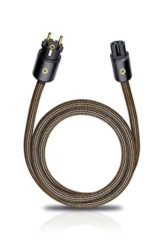 XXL Powercord 075 | High-End Netzkabel | 4mm² Innenleiterquerschnitt & 2-fach Schirmung | Steckertyp C15 auf CEE7/7 | 0,75 m - sepia braun