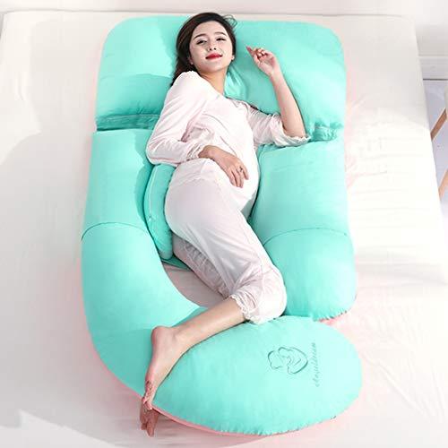 Oreiller de grossesse complet et oreiller de maternité, coussin d'allaitement et d'allaitement avec housse remplaçable et lavable (Couleur : Green)