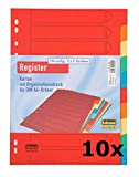 Idena 302004 - Register DIN A4, 10-teilig aus Karton (10er Pack)