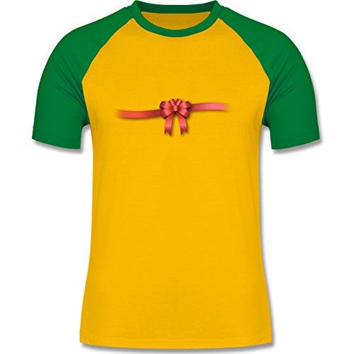 Valentinstag - Ich bin ein Geschenk - Schleife - zweifarbiges Baseballshirt für Männer Gelb/Grün