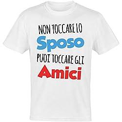 My Digital Print T-Shirt Addio al Celibato, Non Toccare Lo Sposo Non Vale con Gli Amici, Sposo Matrimonio (Bianco, L IT Uomo)
