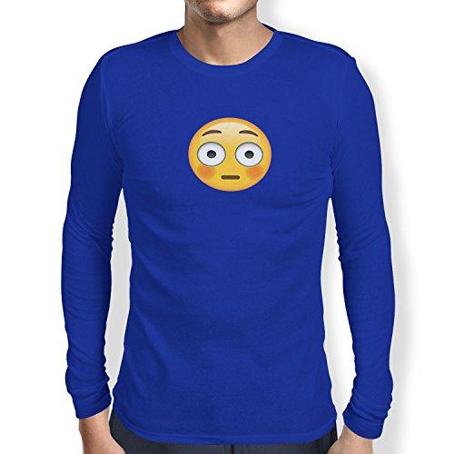 TEXLAB - Flushed Face Emoji - Herren Langarm T-Shirt Marine