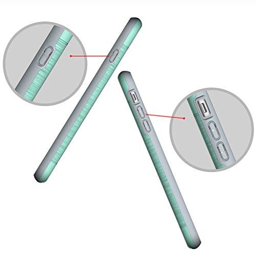 """Etui iphone 7 Plus Coque , ivencase Gris [Shockproof] [Extra Grip] Hybride Etui avec [Card Slot & Holder] pour iPhone 7 Plus 5.5"""" Mint Green"""