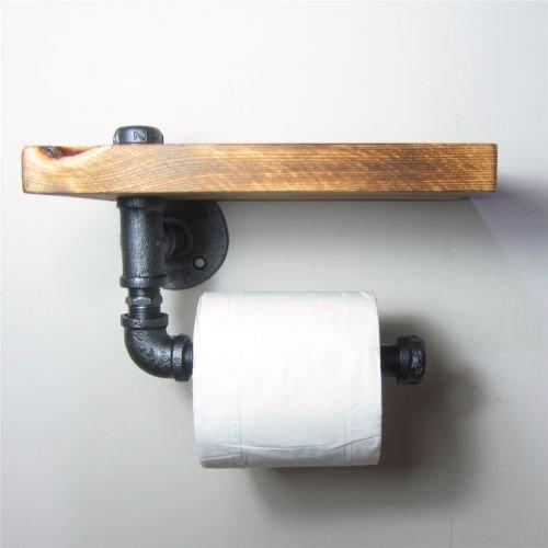 Estilo Industrial hierro tubo para papel higiénico rodillo con estante de madera