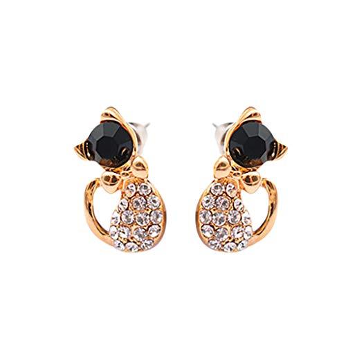 VithconlSüßer Bogen Katze Tier mit Diamant Ohrringe Damen Schmuck Geschenk eingelegt - 925 Ear-gel