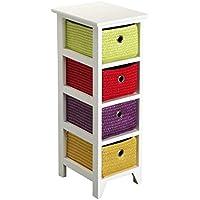 Versa 20100003 Cajonera baño multicolor 4 cestas, Madera,72x25x30cm,Cajón cestos