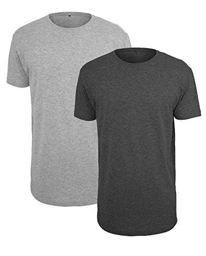 2 x Herren Long Tee extra lang grau schwarz T-shirt Shirt Top Kurzarm Rundhals (XL) (Langes Extra T-shirt Jersey)