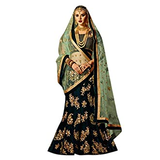 Palkaano Women's Dark Green Silk Lehenga Choli(heavy-green)