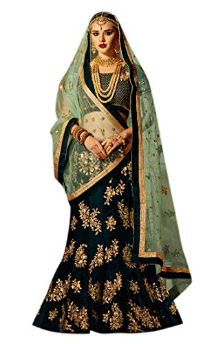 Erthnicset Women\'s Embroidered Silk Semi Stitched Lehenga Choli (Dark-green-Free Size)