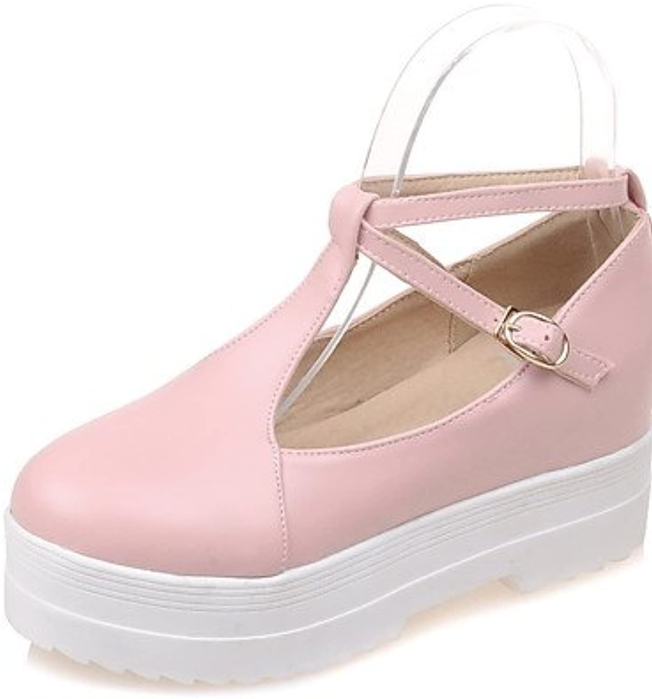 ZQ Zapatos de mujer-Tac¨®n Bajo-Confort / Punta Redonda-Tacones-Oficina y Trabajo / Casual-PU-Azul / Rosa / Beige...