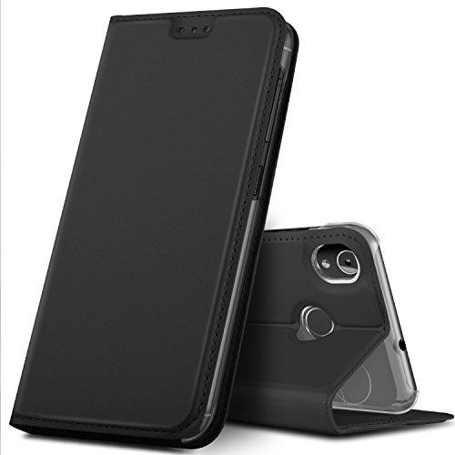 GeeMai Gigaset GS185 Hülle, Premium Gigaset GS185 Leder Hülle Flip Case Tasche Cover Hüllen mit Magnetverschluss [Standfunktion] Schutzhülle handyhüllen für Gigaset GS185 Smartphone, Schwarz
