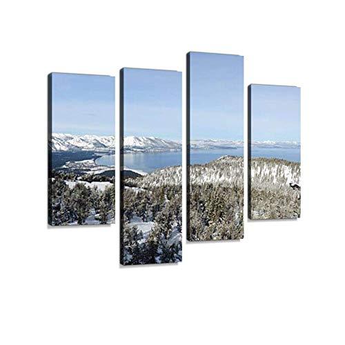 LIS HOME Blick auf Lake Tahoe von Heavenly Ski Resort Leinwand Wandkunst hängen Gemälde Moderne Kunstwerke abstrakte Bild Drucke Dekoration Geschenk einzigartig gestaltet gerahmt 4 Panel