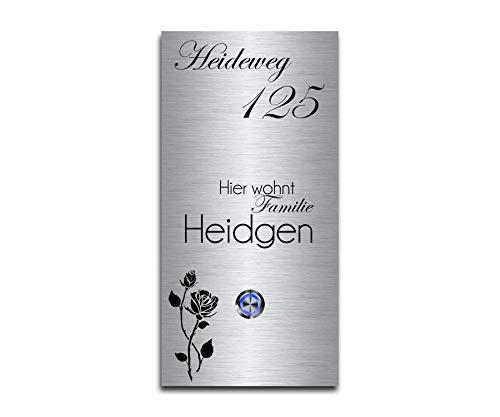CHRISCK design - Edelstahl Türklingel mit Wunsch-Gravur Led-Beleuchtung und Motive 13x26 cm Klingel-Taster Namen Modell: Heidgen-P Edelstahl 13