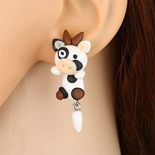 Kissherely Nette Kuh Tropfen Ohrringe Kreative Tiere Soft Touch Ohrringe Neuheit Geschenke für Kinder und Mädchen