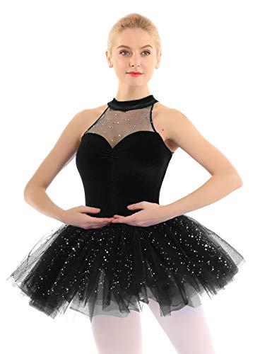 Kostüm Schwarz Ballerina - iEFiEL elegant Damen Ballettkleid mit Glitzer Pailletten Kleider Samt Ballettanzug Ballett Tutu Tanzkleid Wettbewerb Ballerinas Kostüm Schwarz Medium