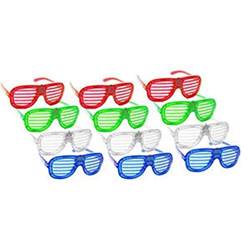 Glasdekoration Unisex-Lustige Brille Blinkende Brille Geschlitzte & Auslöser-Shades LED-Leuchte für Schulparty Weihnachten Halloween Wild Party, Tanzball, Verrückte Parties, Raves (Weiß, Grün, Blau, R