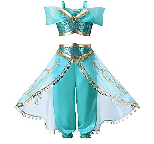 GXYCP Halloween Mädchen Cosplay Aladdin Magische Lampe Kostüm Jasmin Prinzessin Kleid Weihnachten Ballkleid 2ST,130Cm