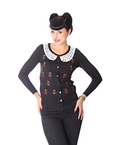 SugarShock Damen Cardigan Sahar Kirschen Rockabilly Weste, Farbe:Schwarz, Größe:onesize