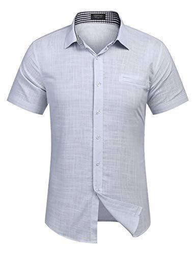 Burlady Herren Hemd Kurzarm Langarm Leinenhemd aus Baumwollmischung Kariert Sommer Freizeit Men´s Shirt (L, Hell Grau)