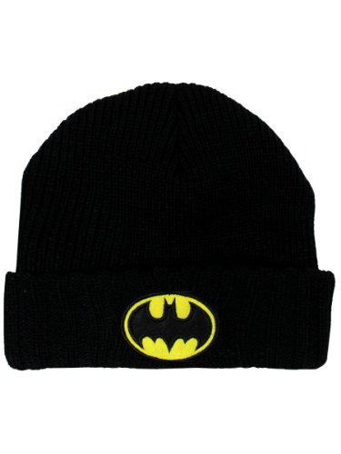 Batman Mens Black Cuffed Beanie Hat One