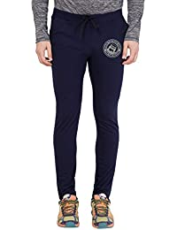 American-Elm Blue Melange Slim Fit Zeep Printed Lower for Men