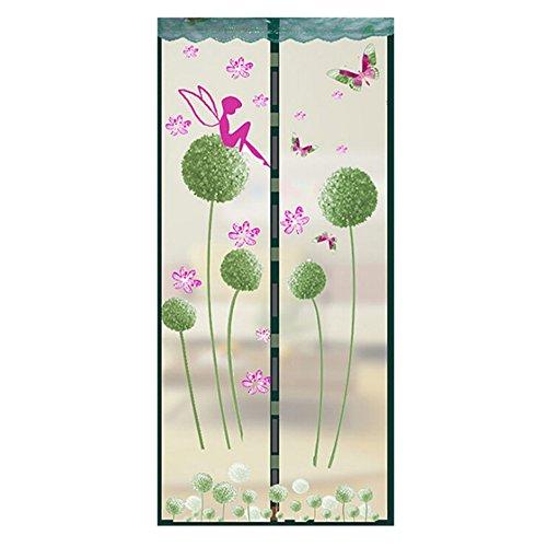 Wongfon Cortinas de mosquitera con imán de cifrado para mantener las moscas insectos fuera, 90 x 210 cm, Verde, 100 x 210cm