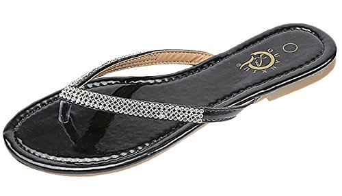 La Vogue Women Rhinestone Toe Post Flip Flops Ladies Flat Thong Sandals Black UK 4