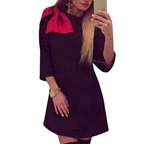 QIYUN.Z Black Fashion Robes A Manches Longues Femmes Red Bowknot Filles Casual A-Line Robe Noir