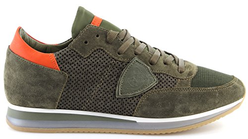 Philippe Model Chaussures Sneakers Hommes Paris Tropez Perfore Vert Made Italy