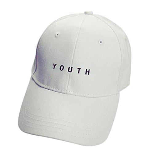 WOCACHI Unisex Baseball Caps YOUTH Stickerei Jungen Mädchen Hip Hop Baumwolle flacher Hüte Mützen (One size, Weiß)