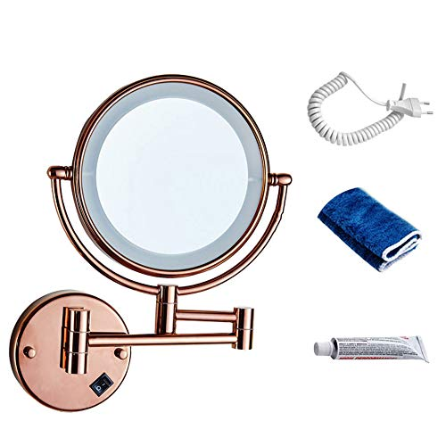 Badezimmerspiegel Make-up Kompakte Spiegel Folding LED Rotat Spiegel Teleskop Doppelseitige Vergrößerung Kosmetikspiegel Wandbehang,Rosegold-A-20CM -