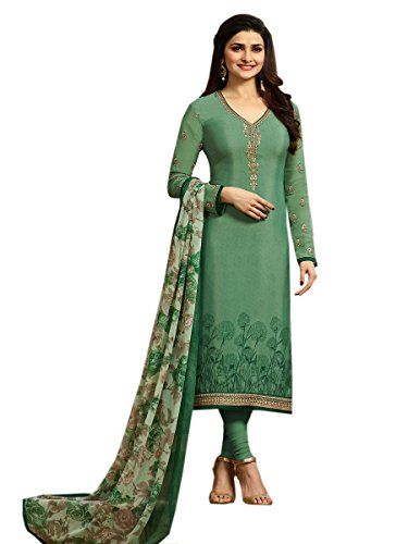 FASHION CARE Present kasab Embroidery with Stone work Green Semi-Stitched Salwar Suit...