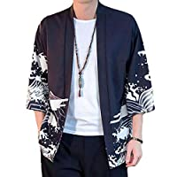 KLJR Mens Short Sleeve Leisure Chinese Style Kimono Open-Front Cardigan one US S