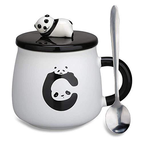 (HONZEE Panda Tasse,Weihnachten Geschenk für Mama,14oz/400ml Kaffeebecher 3D Muttertagsgeschenk Muttertag Kaffeetasse mit Löffel Deckel Tee Cup (Panda Tasse 3))