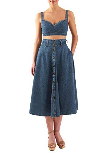 eshakti-womens-cotton-denim-two-piece-midi-dress-uk-size-22-tall-height-sapphire-blue