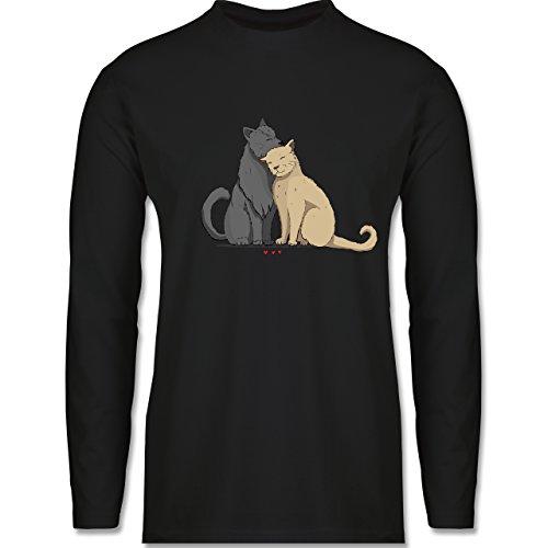 Shirtracer Katzen - Kuschelnde Katzen - Herren Langarmshirt Schwarz