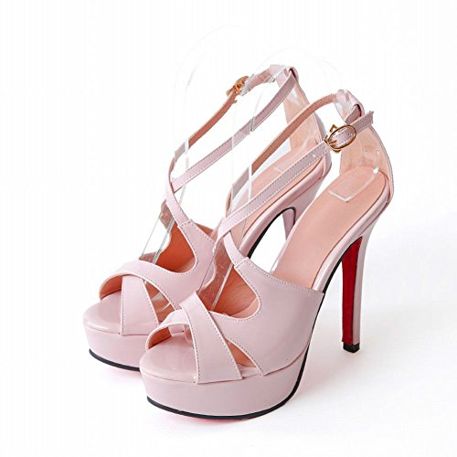 Mee Shoes Damen Stiletto Plateau open toe Sandalen Pink