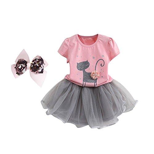BYSTE Abito Bambina Ragazze Abiti Gatti 3D Fiori Manica corta T-shirt + Gonna di garza Vestito da principessa Impostato (Rosa, 3 anni)